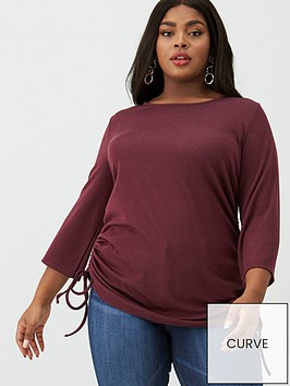v-by-very-curve-three-quarter-sleeve-gathered-side-tee