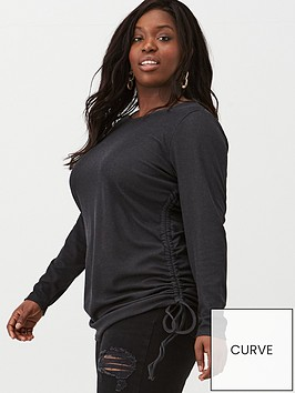 v-by-very-curve-34-sleeve-gathered-side-tee-black