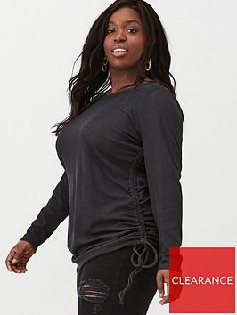v-by-very-curve-34-sleeve-gathered-side-tee-black