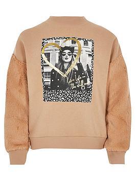 river-island-girls-printed-faux-fur-sweatshirt-beige