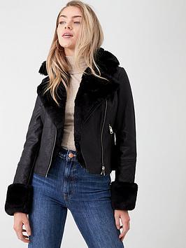 river-island-river-island-faux-fur-collar-quilted-biker-jacket-black