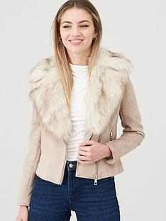 river-island-river-island-faux-fur-trim-biker-jacket--beige