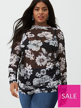 v-by-very-curve-ruche-mesh-top-floral-print