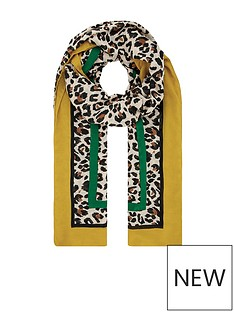 monsoon-ali-animal-recycled-polyester-scarf-ochre