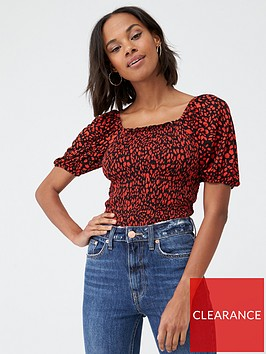 v-by-very-short-sleeve-shirred-milkmaid-top-red-frills