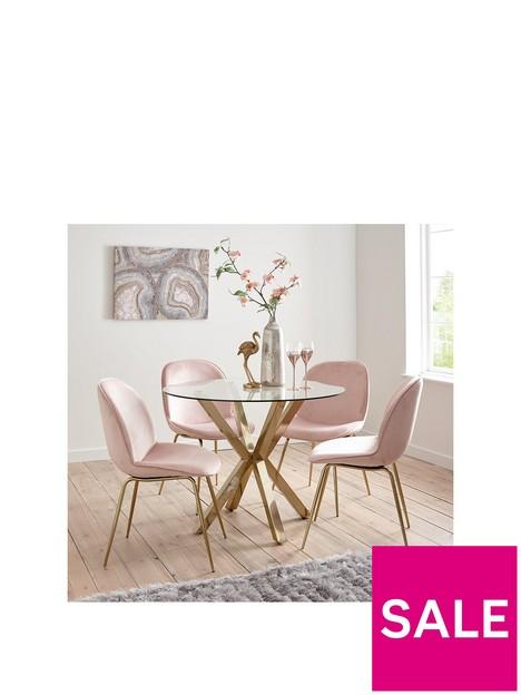 michelle-keegan-home-chopstick-100cm-round-brass-dining-table-4-penny-velvet-chairs-brasspink