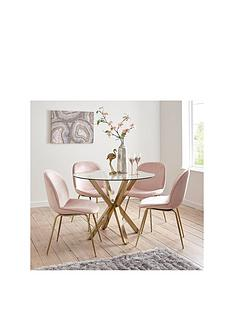 michelle-keegan-home-chopstick-100cm-round-brass-dining-table-4-penny-velvet-chairs-brasspink