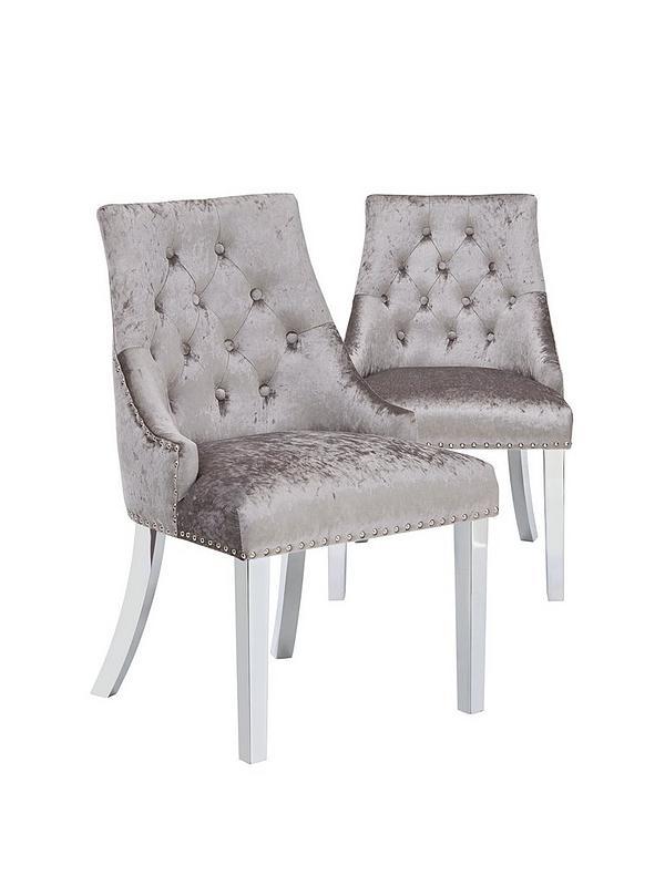 Pair Of Warwick Crushed Velvet Dining, Black Velvet Dining Room Chairs