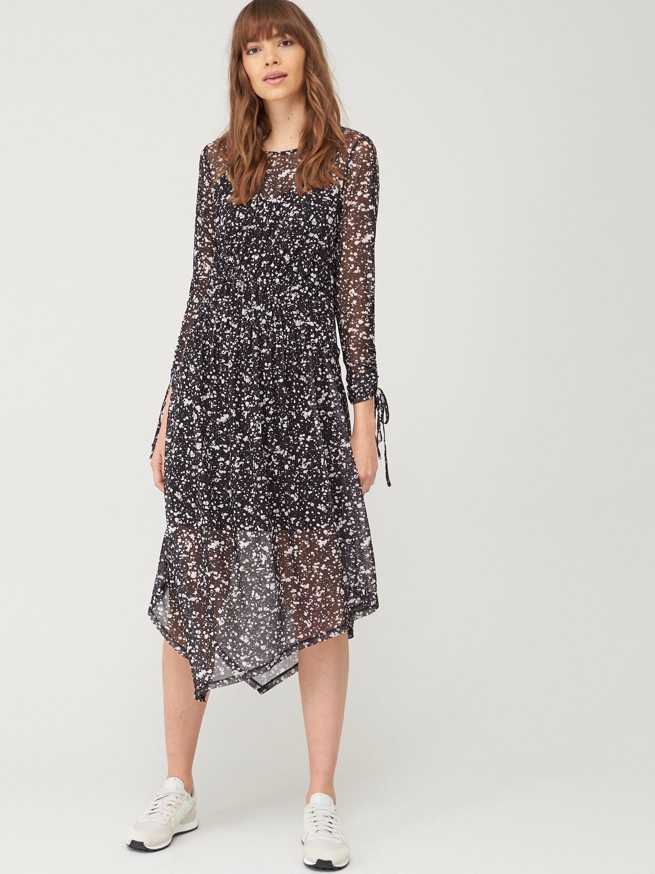 Ex River Island Ladies Black Sheer Mesh Panelled A-Line Dress Size 8 10 12 14 16