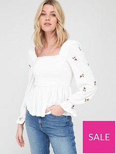 v-by-very-shirred-milkmaid-long-sleeve-top-whitenbsp