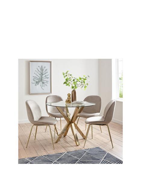 michelle-keegan-home-chopstick-100-cm-round-brass-dining-table-4-penny-velvet-chairs-brasstaupe