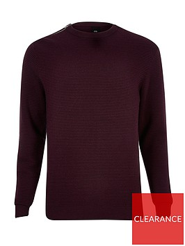 river-island-big-and-tall-slim-fit-red-zip-neck-jumper