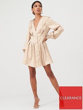in-the-style-in-the-style-x-stephsa-pleated-skater-dress-gold