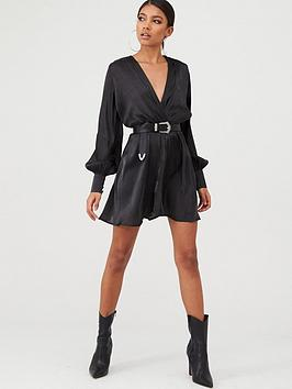 in-the-style-in-the-style-x-stephsa-satin-drape-front-mini-dress-black