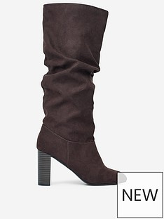 dorothy-perkins-dorothy-perkins-kiss-high-heel-ruched-knee-high-boot-brown