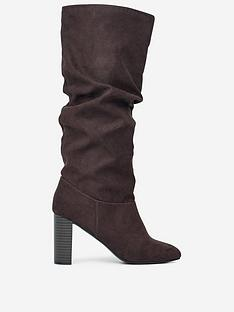 dorothy-perkins-dorothy-perkins-kiss-ruched-knee-high-boots-brown