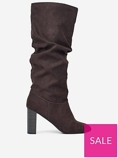 dorothy-perkins-kiss-ruched-knee-high-boots-brown