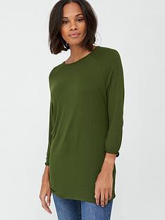 v-by-very-three-quarter-length-sleeved-raglan-tee-khaki