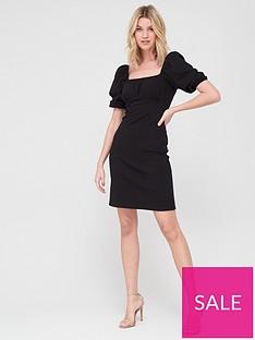 v-by-very-puff-sleeve-jacquard-dress-blacknbsp