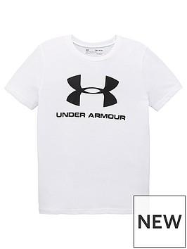 under-armour-childrens-sportstyle-logo-t-shirt-whiteblack