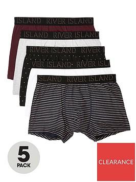 river-island-burgundy-ri-monogram-print-trunk-5-pack