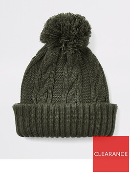 river-island-khaki-cable-knitted-bobble-beanie-hat