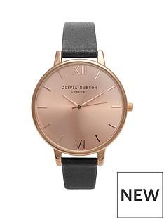 olivia-burton-olivia-burton-rose-gold-sunray-big-dial-black-leather-strap-ladies-watch