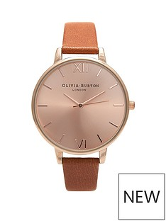 olivia-burton-olivia-burton-rose-gold-sunray-dial-tan-leather-strap-ladies-watch