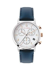 ted-baker-ted-baker-cream-and-rose-gold-detail-chronograph-dial-blue-leather-strap-watch