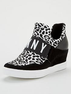 dkny-cosmos-leopard-print-wedge-trainers-black