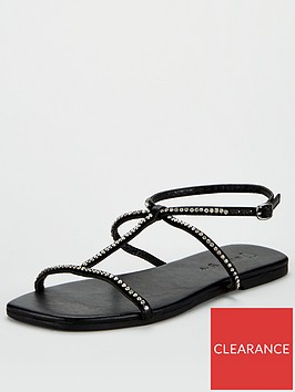 v-by-very-hilton-leather-square-toe-diamante-flat-sandals-black