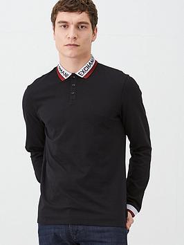 armani-exchange-logo-collar-long-sleeved-polo-shirt-black