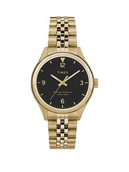timex-timex-waterbury-black-34mm-dial-gold-stainless-steel-bracelet-watch