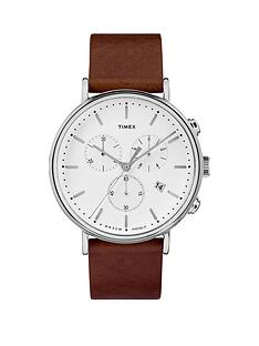 timex-timex-fairfield-white-chronograph-dial-brown-leather-strap-watch