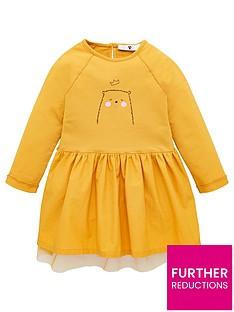 v-by-very-girls-bear-print-mesh-detail-jersey-dress-mustard