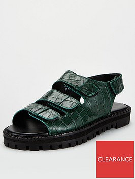 v-by-very-harrison-leather-chunky-sandals-dark-green