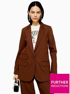 topshop-caramel-twill-single-breasted-blazer-brown
