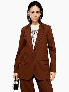 topshop-topshop-caramel-twill-single-breasted-blazer-brown