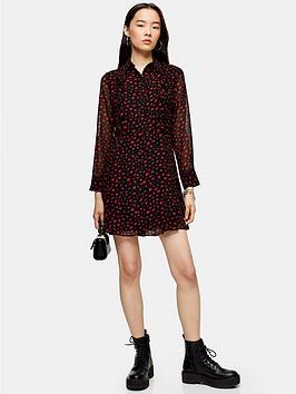 topshop-ruffle-mini-shirt-dress-black