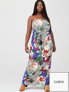 v-by-very-curve-bandeau-jersey-maxi-dress-blue-floral-animal