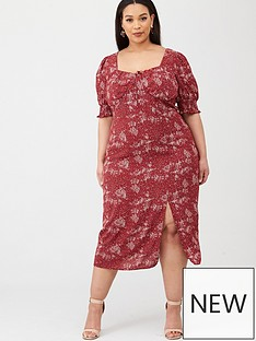 v-by-very-curve-milkmaid-top-split-front-midi-dress-red-floral