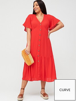 v-by-very-curve-crinkle-open-back-button-through-dress-red