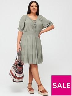 v-by-very-curve-tiered-crinkle-dress-khaki