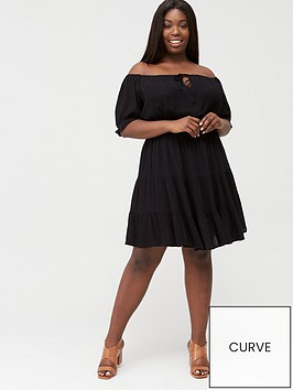 v-by-very-curve-tiered-crinkle-dress-black