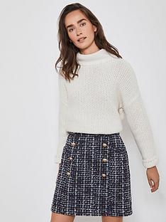 mint-velvet-tweed-military-mini-a-line-skirt-multi