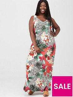 v-by-very-curve-side-split-jersey-maxi-dress-coral-floral-animal