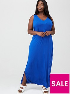 v-by-very-curve-side-split-jersey-maxi-dress-electric-blue