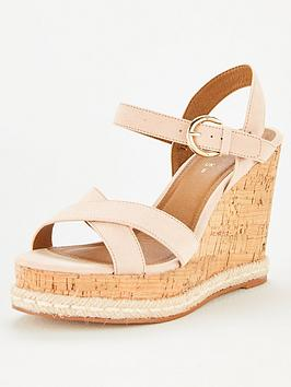 V By Very Deeta Covered Wedge Sandal - Nude