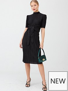 v-by-very-plisse-tie-front-midi-dress-black