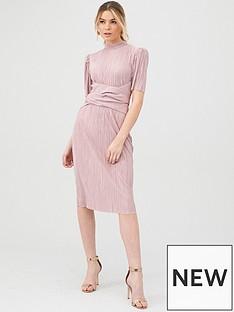 v-by-very-plisse-tie-front-midi-dress-blush